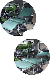札幌の介護タクシーセントラルの車両はフルリクライニング! 車椅子で楽々移動!